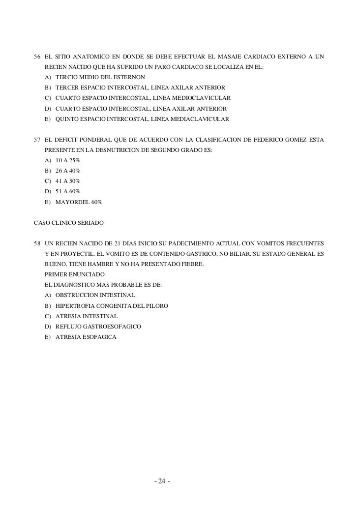 1 examen nacional xxiii 1999 for Cuarto espacio intercostal