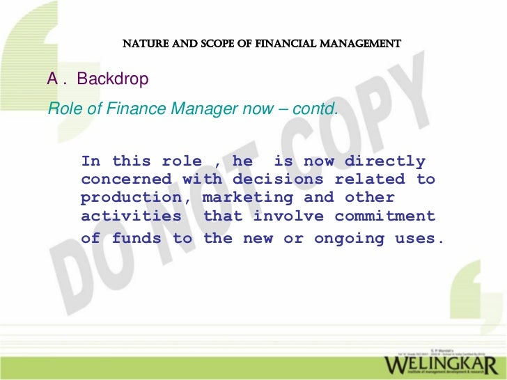 traditional role of financial manager Performing the finance functions, the financial manager should strive to   arbitrary)—the traditional phase, the transitional phase and the modern phase.