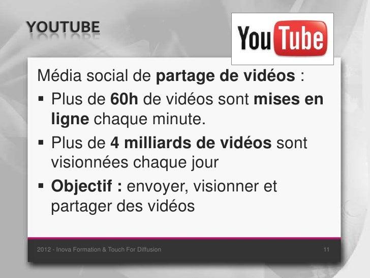 YOUTUBE Média social de partage de vidéos :  Plus de 60h de vidéos sont mises en   ligne chaque minute.  Plus de 4 milli...