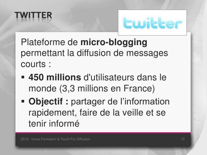 TWITTER Plateforme de micro-blogging permettant la diffusion de messages courts :  450 millions dutilisateurs dans le   m...