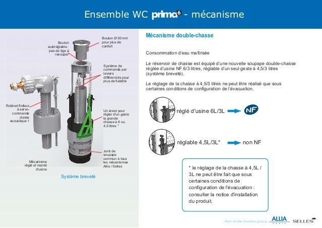 Formation montage wc prima 6 - Reglage chasse d eau double commande ...