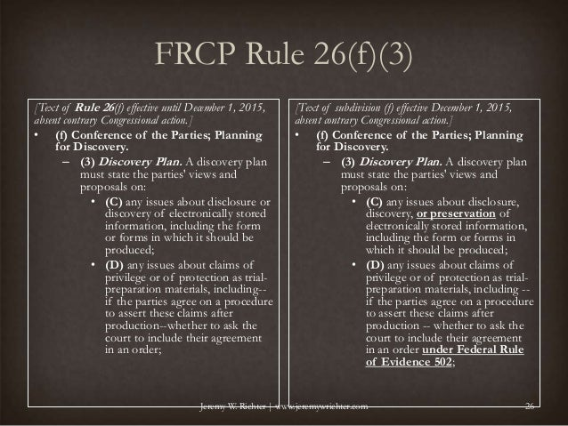 2015 Changes to the Discovery Rules of the Federal Rules of Civil Pro…