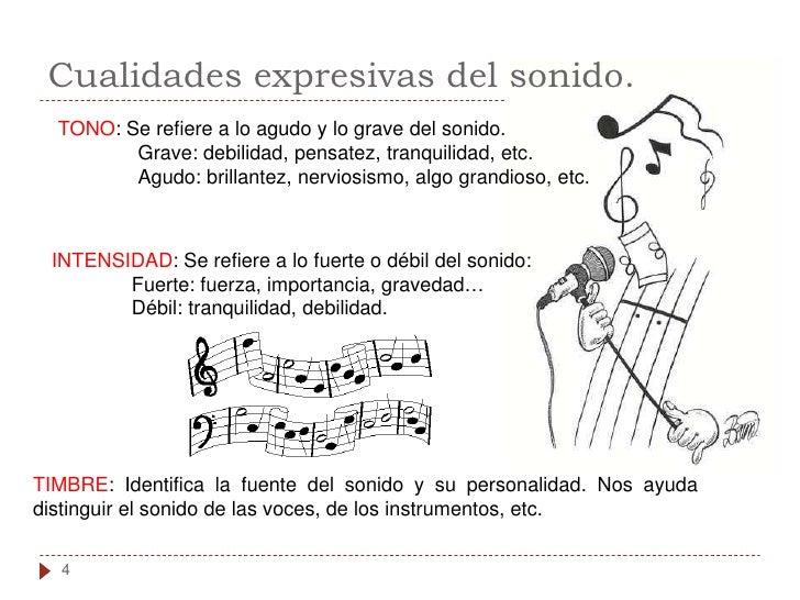Cualidades expresivas del sonido.   TONO: Se refiere a lo agudo y lo grave del sonido.          Grave: debilidad, pensatez...