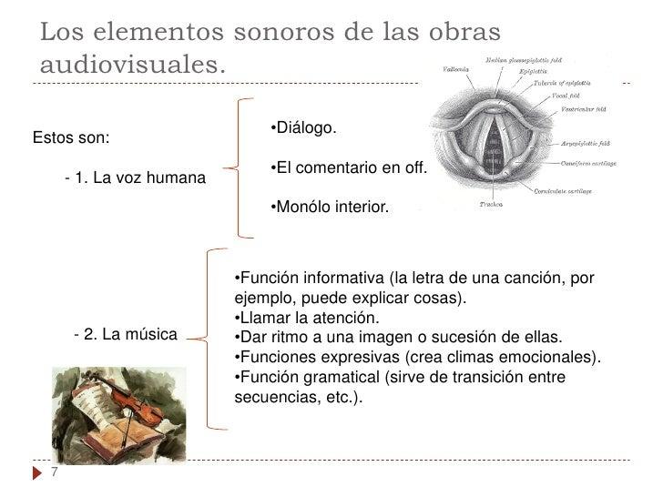 Los elementos sonoros de las obras audiovisuales.                                 •Diálogo. Estos son:                    ...