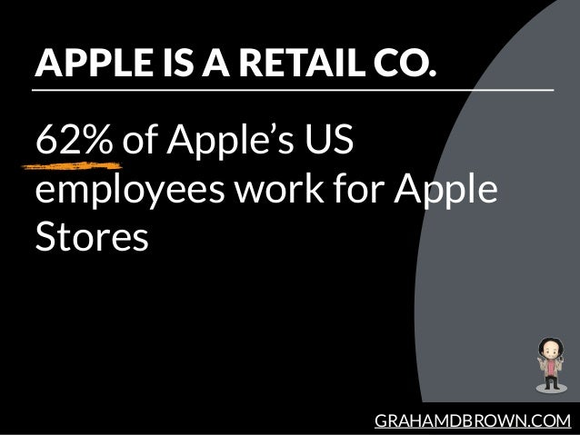 GRAHAMDBROWN.COM APPLE IS A RETAIL CO. 62% of Apple's US employees work for Apple Stores