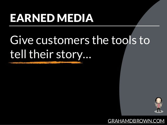 GRAHAMDBROWN.COM EARNED MEDIA Give customers the tools to tell their story…