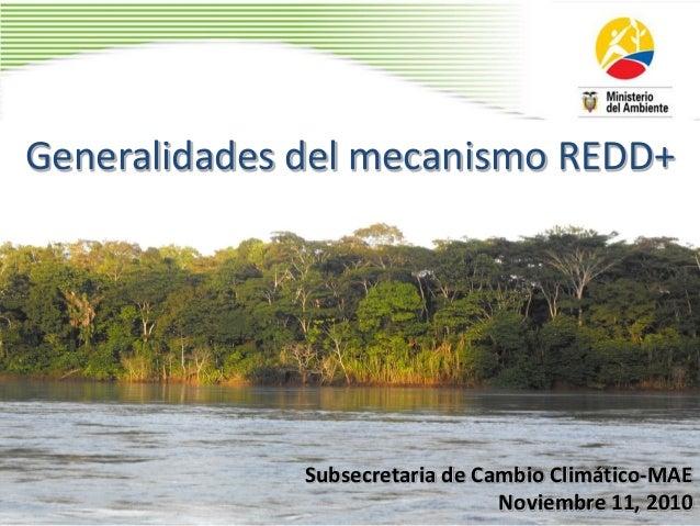 Generalidades del mecanismo REDD+ Subsecretaria de Cambio Climático-MAE Noviembre 11, 2010
