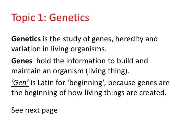 1. Genetics and heredity