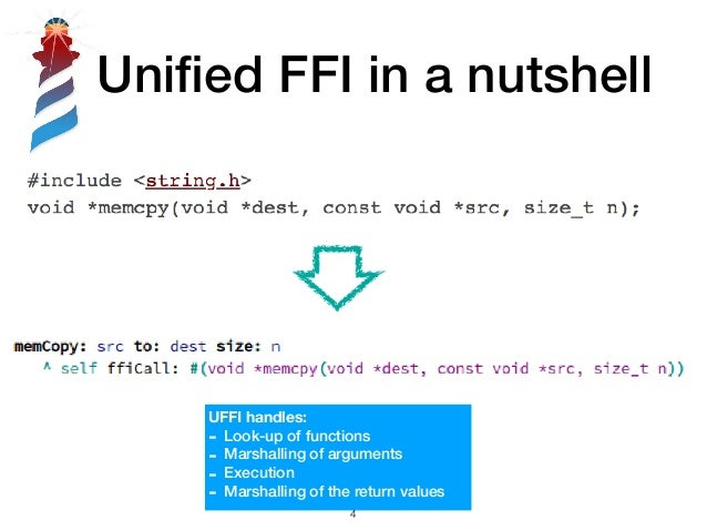 Unified FFI in a nutshell UFFI handles: - Look-up of functions - Marshalling of arguments - Execution - Marshalling of the ...
