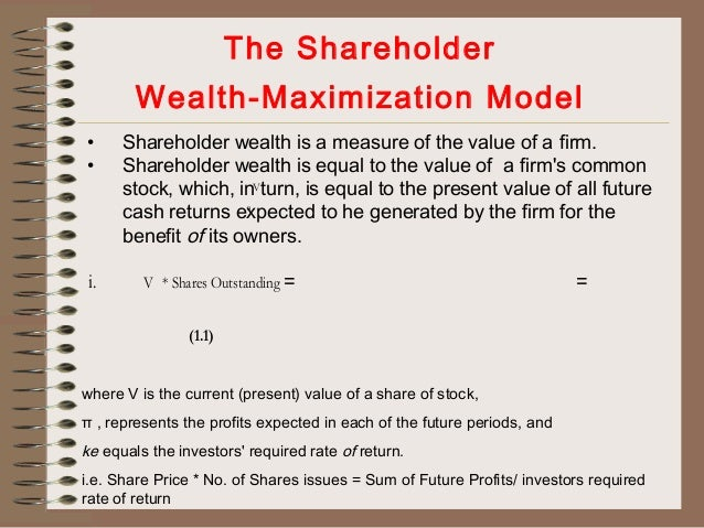 profit maximization and shareholder wealth maximization Notes on goals of financial management - profit maximization vs shareholders wealth maximization for all management students.