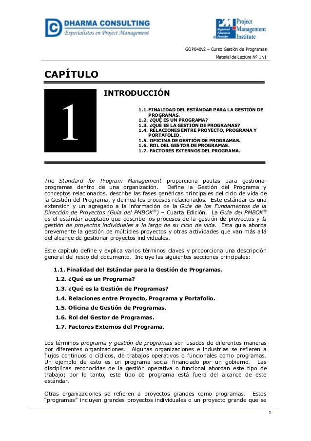 GOP040v2 – Curso Gestión de Programas                                                                  Material de Lectura...