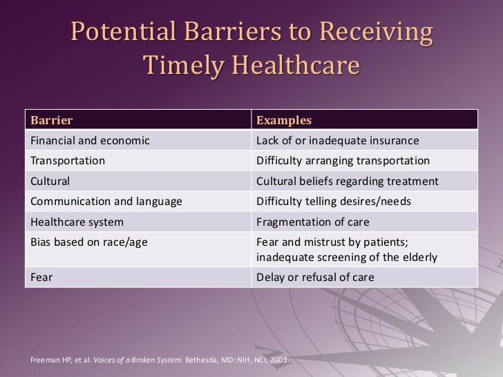 Identifying and removing barriers to care
