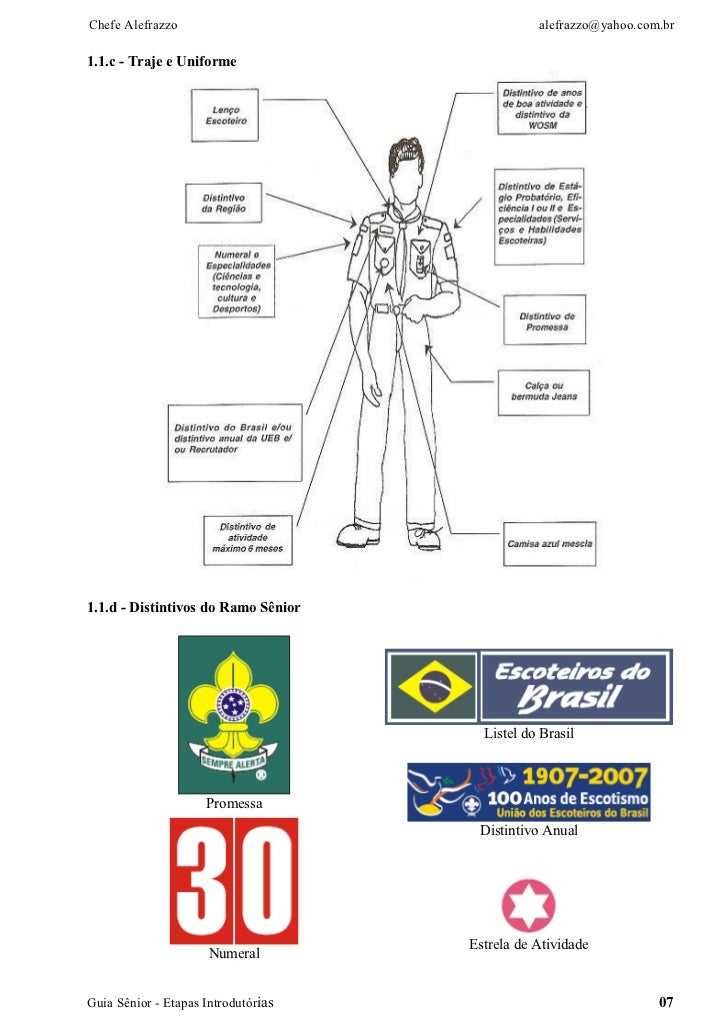 Chefe Alefrazzo                                 alefrazzo@yahoo.com.br1.1.c - Traje e Uniforme1.1.d - Distintivos do Ramo ...
