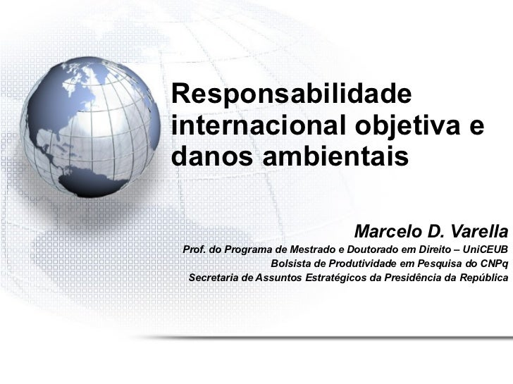 Responsabilidade internacional objetiva e danos ambientais Marcelo D. Varella Prof. do Programa de Mestrado e Doutorado em...