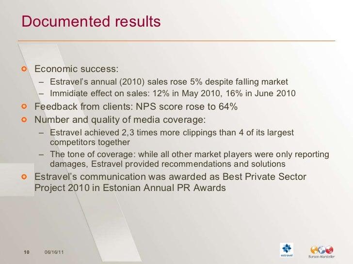 Documented results <ul><li>Economic success: </li></ul><ul><ul><li>Estravel's annual (2010) sales rose 5% despite falling ...
