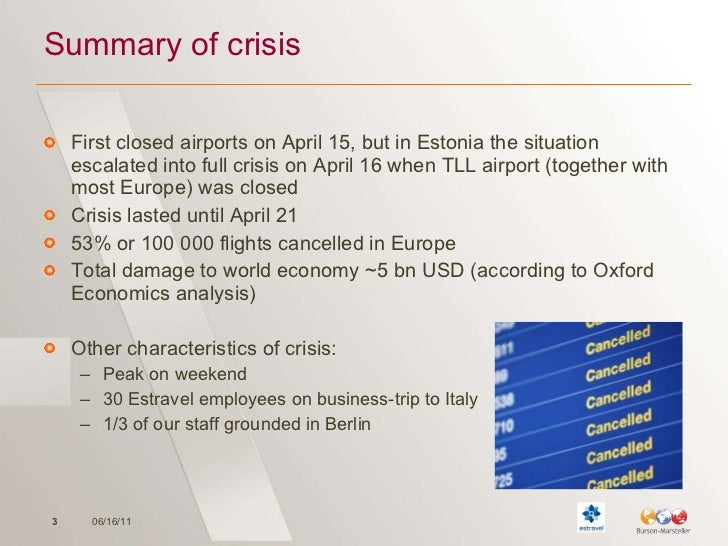 Summary of crisis <ul><li>First closed airports on April 15, but in Estonia the situation escalated into full crisis on Ap...