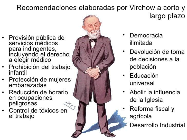 Recomendaciones elaboradas por Virchow a corto y largo plazo <ul><li>Provisión pública de servicios médicos para indingent...