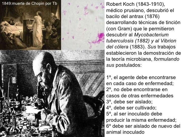 Robert Koch (1843-1910), médico prusiano, descubrió el  bacilo del antrax (1876) desarrollando técnicas de tinción (con Gr...