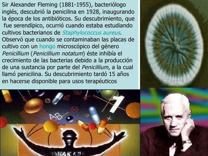 Sir Alexander Fleming (1881-1955), bacteriólogo inglés, descubrió la penicilina en 1928, inaugurando la época de los antib...