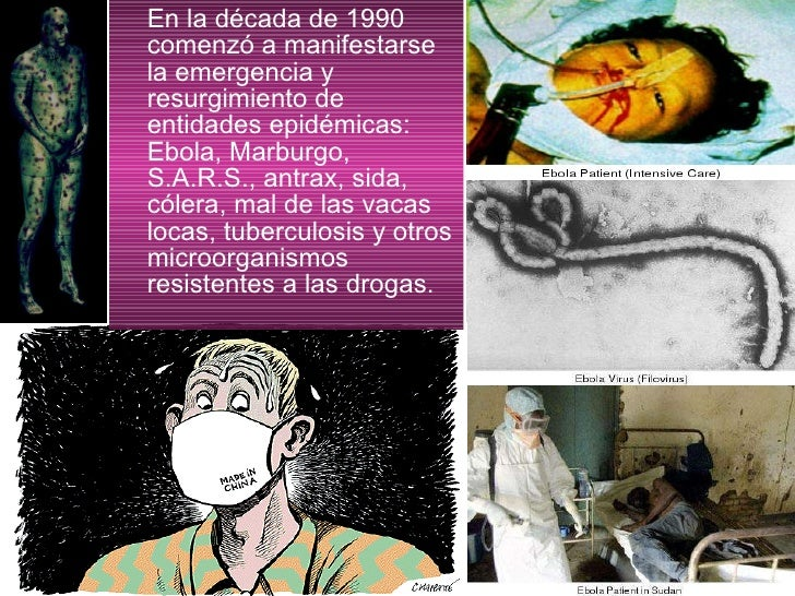 <ul><li>En la década de 1990 comenzó a manifestarse la emergencia y resurgimiento de entidades epidémicas: Ebola, Marburgo...