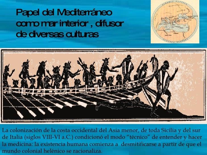 Papel del Mediterráneo como mar interior , difusor de diversas culturas La colonización de la costa occidental del Asia me...
