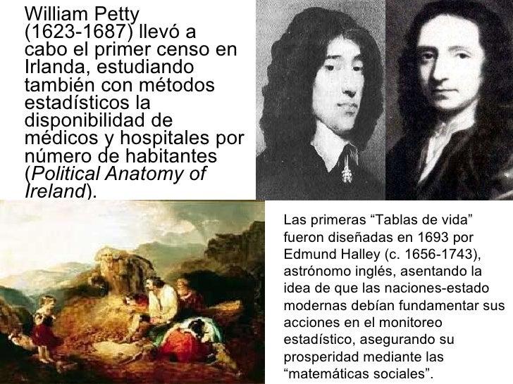 <ul><li>William Petty (1623-1687) llevó a cabo el primer censo en Irlanda, estudiando también con métodos estadísticos la ...