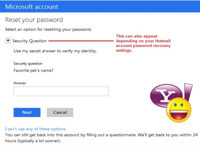 yahoo mail security question page