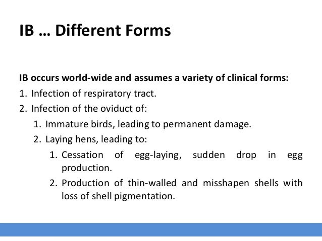 IB … Different Forms IB occurs world-wide and assumes a variety of clinical forms: 1. Infection of respiratory tract. 2. I...