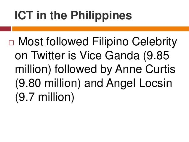  Most followed Filipino Celebrity on Twitter is Vice Ganda (9.85 million) followed by Anne Curtis (9.80 million) and Ange...