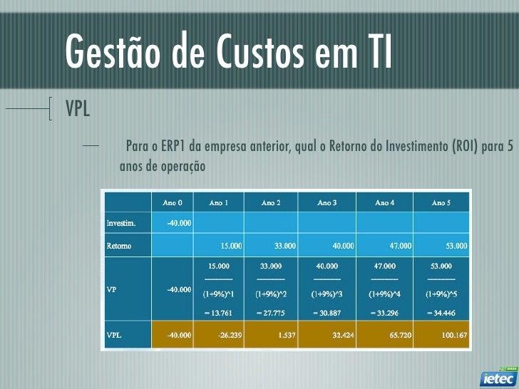 Gestão de Custos em TIVPL       Para o ERP1 da empresa anterior, qual o Retorno do Investimento (ROI) para 5      anos de ...