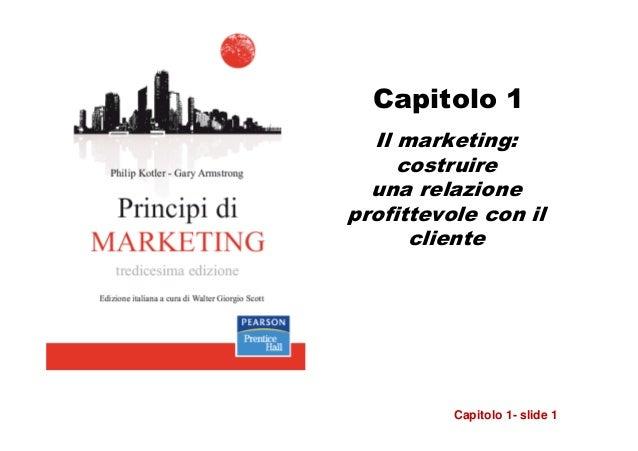 Capitolo 1  Il marketing:     costruire  una relazioneprofittevole con il      cliente          Capitolo 1- slide 1
