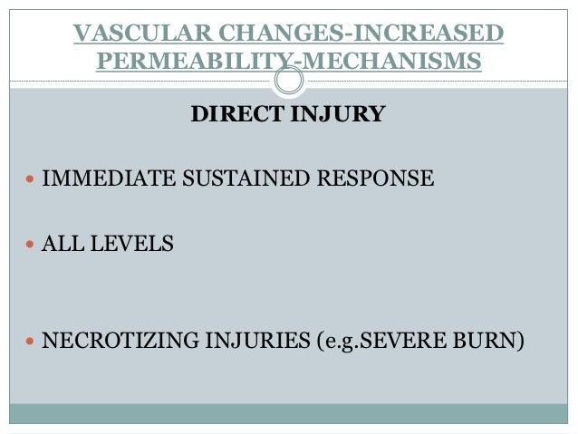 VASCULAR CHANGES-INCREASED   PERMEABILITY-MECHANISMS     DELAYED PROLONGED LEAKAGE VENULES,CAPILLARIES THERMAL INJURIES,...