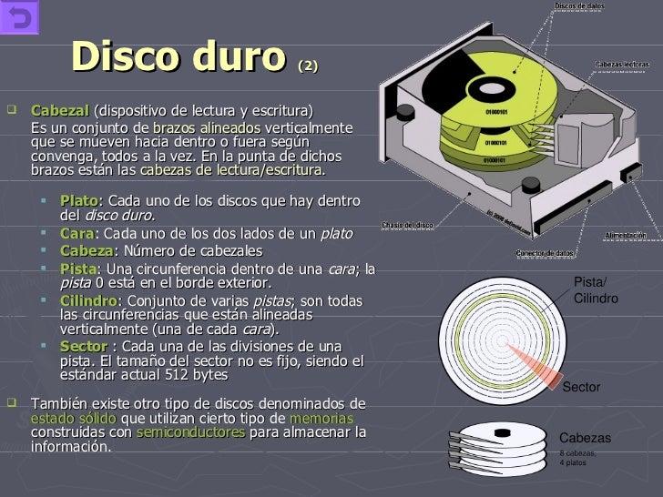 Disco duro  (2) <ul><li>Cabezal   (dispositivo de lectura y escritura) </li></ul><ul><li>Es un conjunto de  brazos alinead...