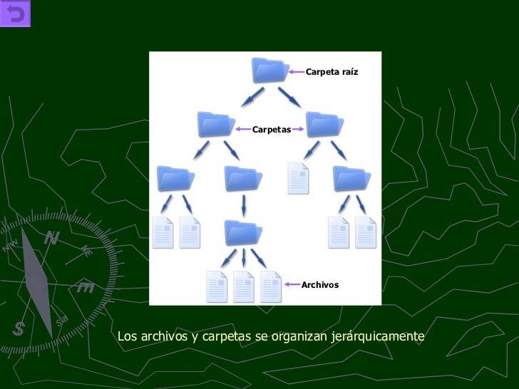 Los archivos y carpetas se organizan jerárquicamente   Carpeta raíz Archivos Carpetas