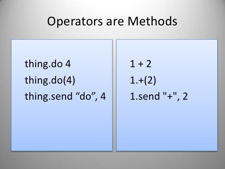 """Operators are Methods<br />thing.do 4<br />thing.do(4)<br />thing.send """"do"""", 4<br />1 + 2<br />1.+(2)<br />1.send &quot;+&..."""