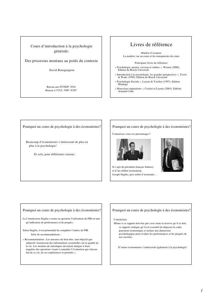 Cours d'introduction à la psychologie                                                Livres de référence                  ...