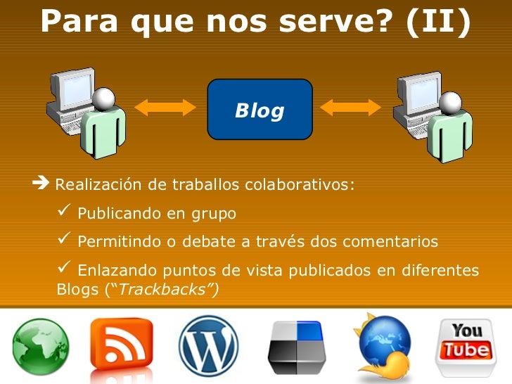 Para que nos serve? (II) <ul><li>Realización de traballos colaborativos: </li></ul><ul><ul><li>Publicando en grupo </li></...