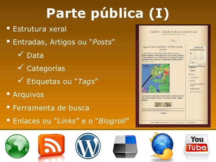 "Parte pública (I) <ul><li>Estrutura xeral </li></ul><ul><li>Entradas, Artigos ou "" Posts "" </li></ul><ul><ul><li>Data </li..."