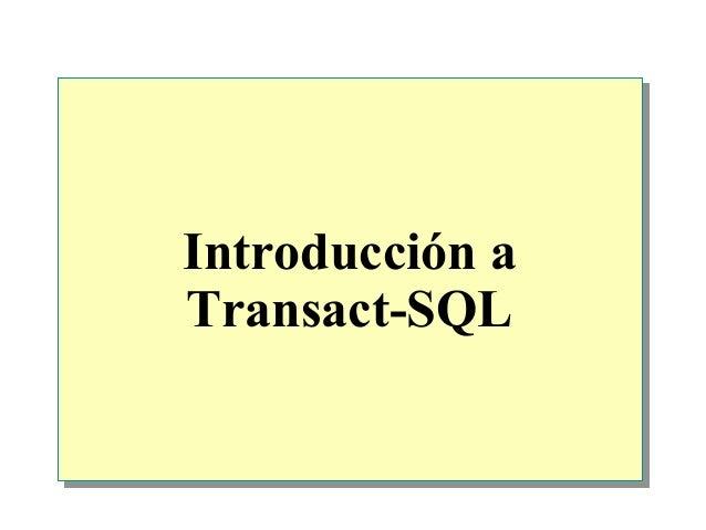 Introducción aTransact-SQL