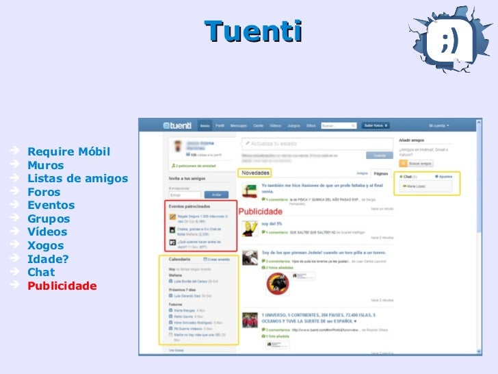 Twitter➔ Microblog➔ Mensaxes➔ Amigos e  seguidores➔ Tuit + imaxe +  ubicación➔ Para móbil en  orixe