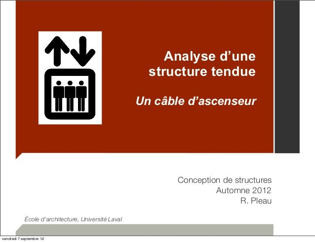 Analyse d'une  structure tendue  Un câble d'ascenseur  Conception de structures  Automne 2012  R. Pleau  École d'architect...