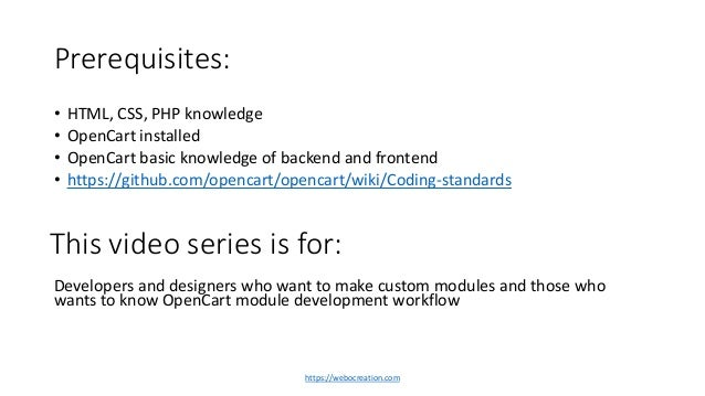 1 OpenCart Module Development Introduction and table of contents