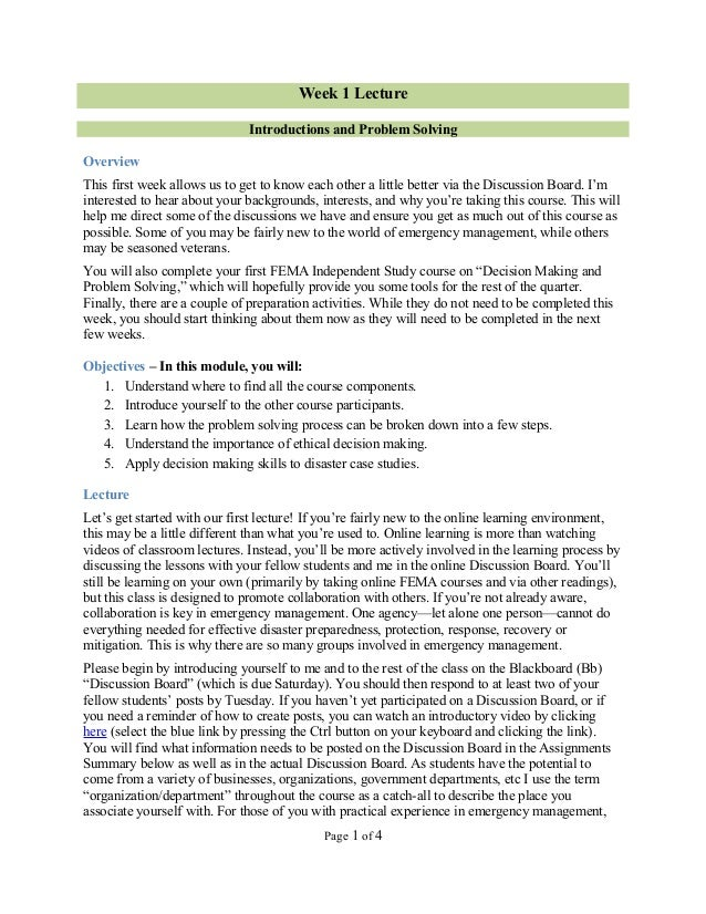 Week 1 Lecture                              Introductions and Problem SolvingOverviewThis first week allows us to get to k...