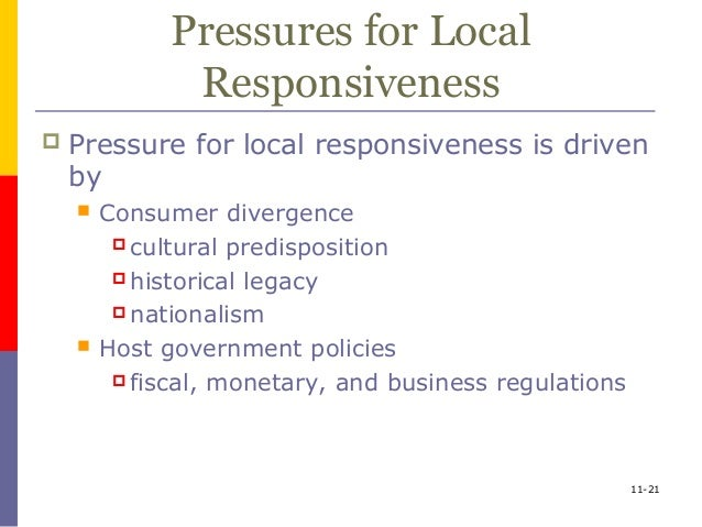 integration responsiveness framework Using bartlett and ghoshal's (1989) global integration-local responsiveness  typology of multinational corporations as the theoretical framework,.