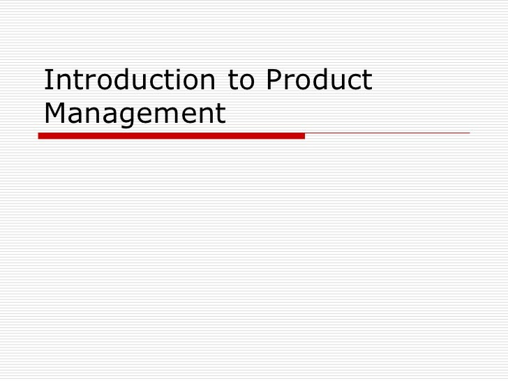 Introduction to ProductManagement