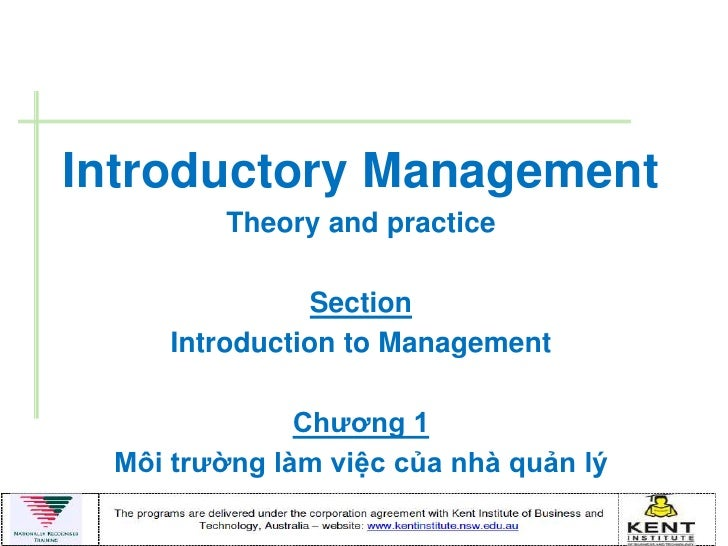 Introductory Management        Theory and practice                Section     Introduction to Management              Chƣơ...