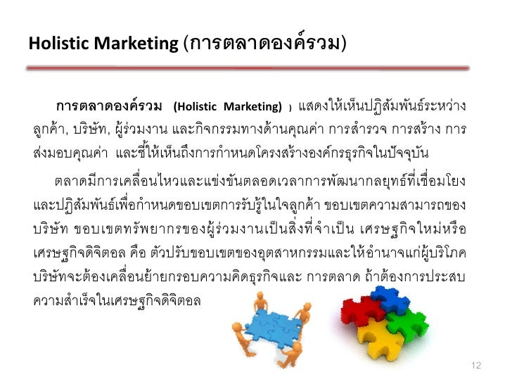 Holistic Marketing (การตลาดองค์ รวม)     การตลาดองค์ รวม (Holistic Marketing) ) แสดงให้ เห็นปฏิสมพันธ์ ระหว่าง            ...