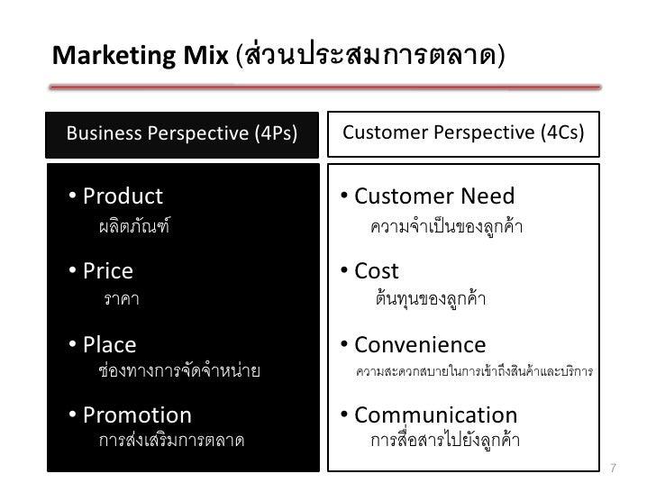 Marketing Mix (ส่ วนประสมการตลาด) Business Perspective (4Ps)   Customer Perspective (4Cs) • Product                    • C...