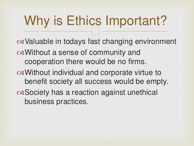 importance of ethics in society ppt