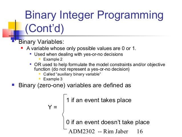 beyond linear programming: mathematical programming extensions